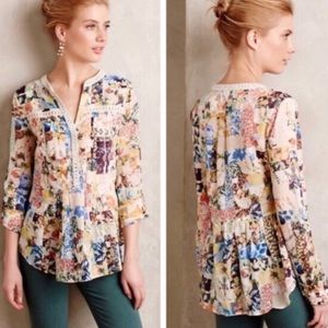 Anthropologie MAEVE Fall Floral Blouse Babydoll